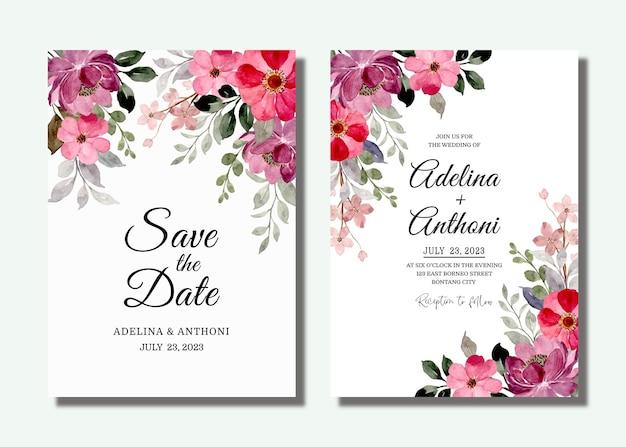 Cartão de convite de casamento com aquarela floral roxo vermelho