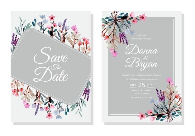 Cartão de convite de casamento com aquarela floral selvagem