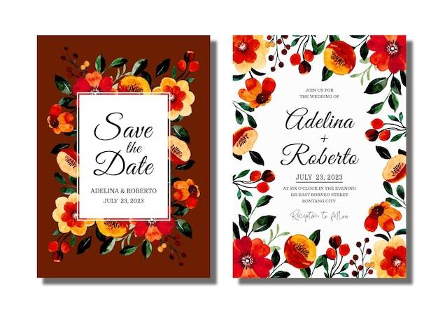 Cartão de convite de casamento com aquarela floral vintage