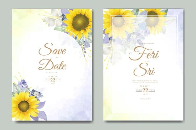 Cartão de convite de casamento com aquarela floral