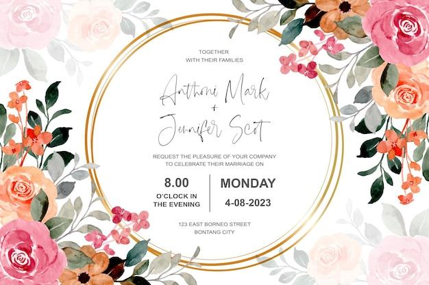Cartão de convite de casamento com aquarela flores desabrochando