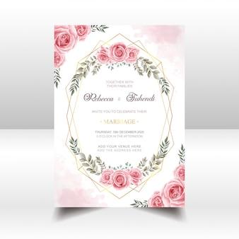 Cartão de convite de casamento com aquarela rosa flores