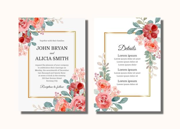 Cartão de convite de casamento com aquarela rosas silvestres