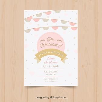 Cartão de convite de casamento com bandeirolas
