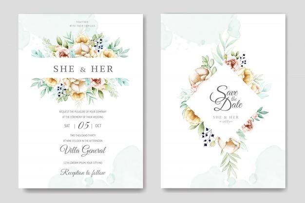 Cartão de convite de casamento com bela aquarela floral e folhas