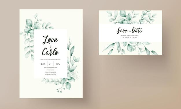 Cartão de convite de casamento com bela decoração de folhas