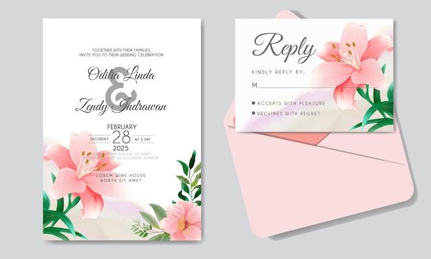 Cartão de convite de casamento com belos temas florais