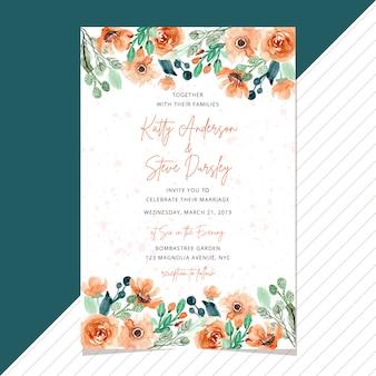 Cartão de convite de casamento com borda floral aquarela