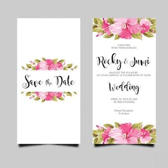 Cartão de convite de casamento com buganvílias
