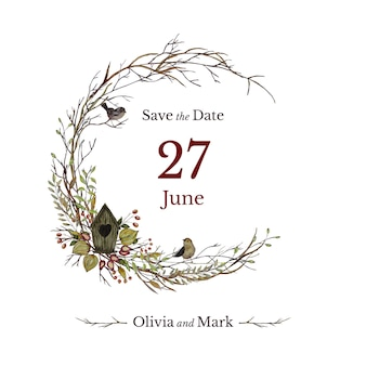 Cartão de convite de casamento com casa de passarinho e guirlanda floral
