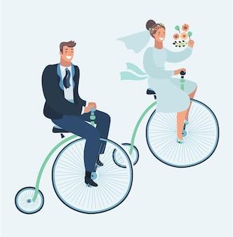Cartão de convite de casamento com casal em bicicleta