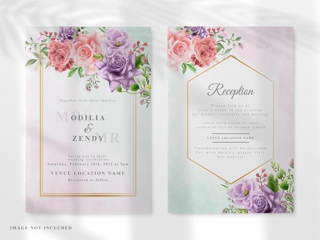 Cartão de convite de casamento com colorido floral desenhado à mão