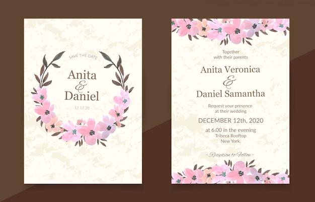 Cartão de convite de casamento com conjunto aquarela floral rosa