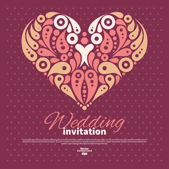 Cartão de convite de casamento com coração decorativo elegante