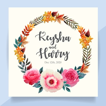 Cartão de convite de casamento com coroa de flores em aquarela floral outono