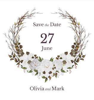 Cartão de convite de casamento com coroa de flores em aquarela floral