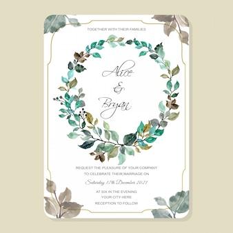 Cartão de convite de casamento com coroa de folhas em aquarela