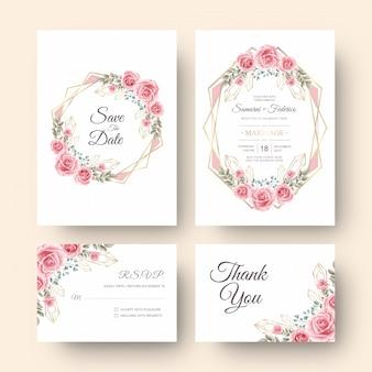 Cartão de convite de casamento com decoração de flores em aquarela