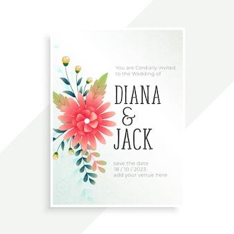 Cartão de convite de casamento com decoração de flores