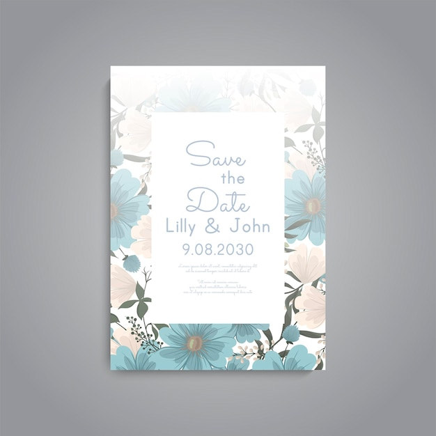 Cartão de convite de casamento com decoração floral e moldura