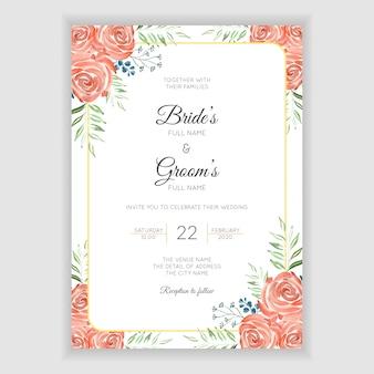 Cartão de convite de casamento com decoração floral em aquarela