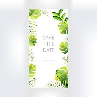 Cartão de convite de casamento com decoração floral.