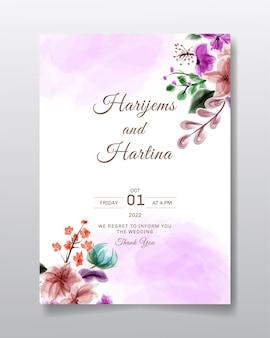 Cartão de convite de casamento com desenho de flores ou folhas em aquarela