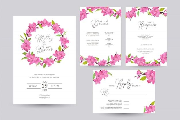 Cartão de convite de casamento com design de flor de cerejeira