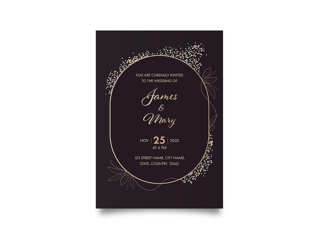Cartão de convite de casamento com detalhes do evento na cor marrom.