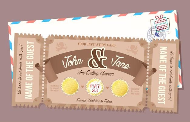 Cartão de convite de casamento com elemento de raspagem. bilhete de estilo retro.