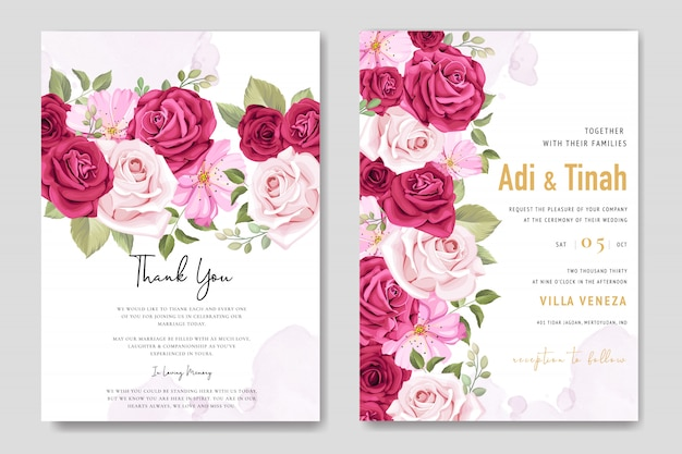 Cartão de convite de casamento com elementos florais
