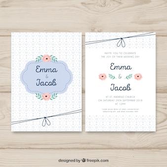 Cartão de convite de casamento com enfeites diferentes