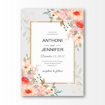 Cartão de convite de casamento com flor de flor rosa aquarela