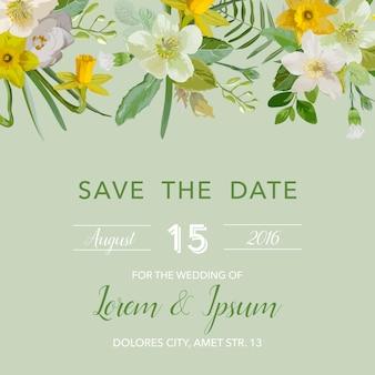 Cartão de convite de casamento com flor de lírio floral