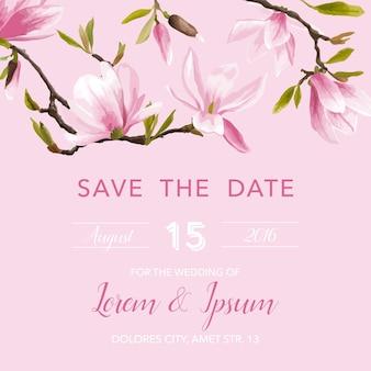 Cartão de convite de casamento com flor de magnólia floral