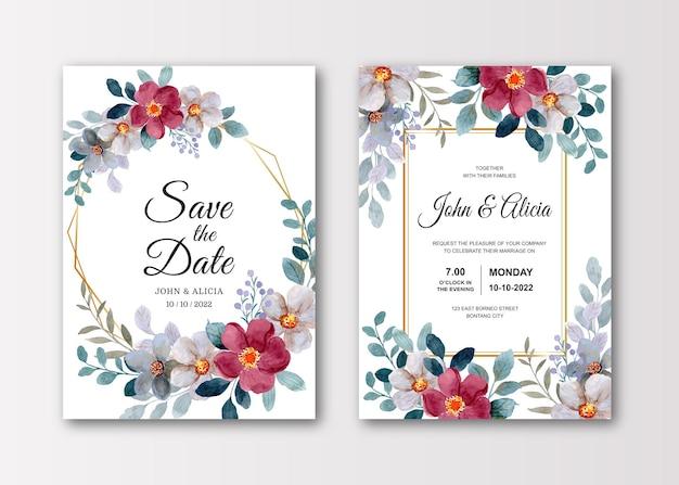 Cartão de convite de casamento com flor em aquarela