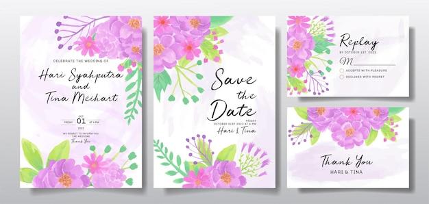 Cartão de convite de casamento com flor roxa ou folhas