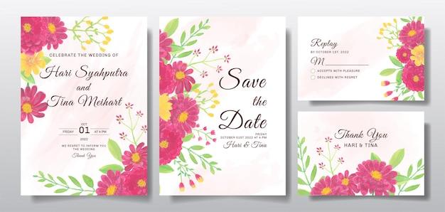 Cartão de convite de casamento com flor vermelha ou folhas