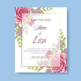 Cartão de convite de casamento com flor