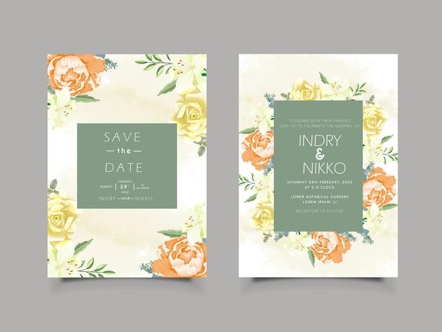 Cartão de convite de casamento com floral bonito e artístico