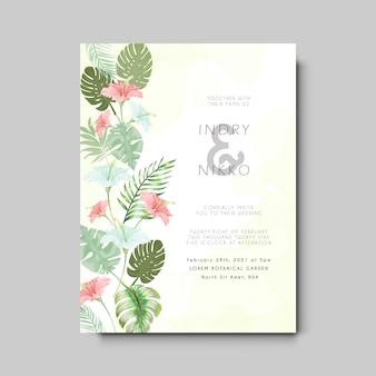 Cartão de convite de casamento com floral bonito e artístico Vetor Premium