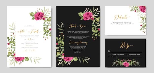 Cartão de convite de casamento com floral e deixa o modelo de quadro