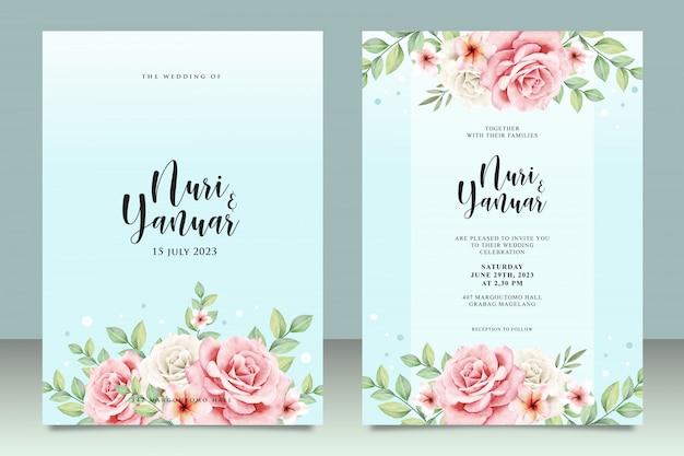 Cartão de convite de casamento com floral