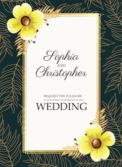 Cartão de convite de casamento com flores amarelas nos cantos.