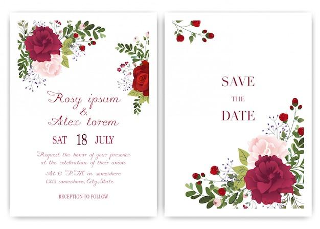 Cartão de convite de casamento com flores coloridas e folhas.