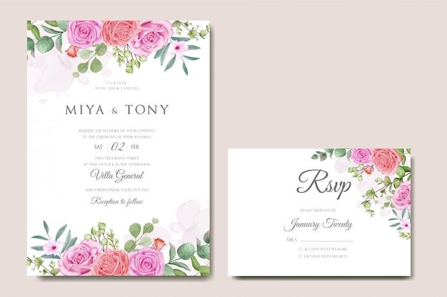 Cartão de convite de casamento com flores coloridas e folhas