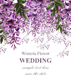 Cartão de convite de casamento com flores de glicínias