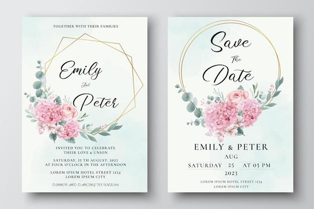 Cartão de convite de casamento com flores de hortênsia e rosas em aquarela
