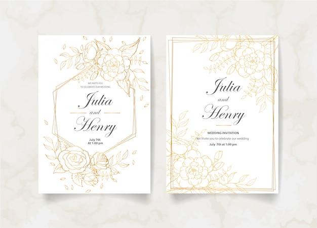 Cartão de convite de casamento com flores douradas, folhas e galhos