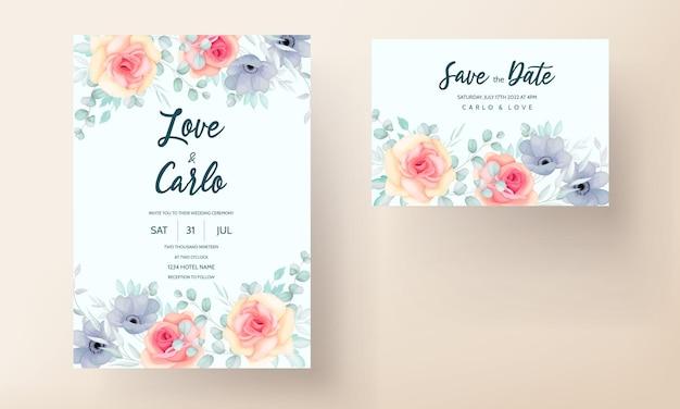 Cartão de convite de casamento com flores e folhas da primavera
